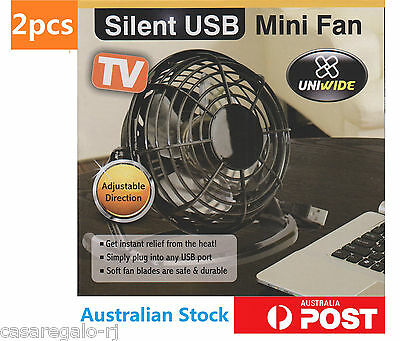 2pcs PC USB Cooling Desk Mini Fan Notebook Laptop Computer Portable Super Mute