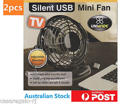 2x USB Fan Desk Mini Fan Cooling Notebook Laptop PC Computer Portable Super Mute
