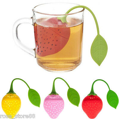 Infuser Loose Tea Leaf Strainer Herbal Spice Filter Diffuser Strawberry Silicone