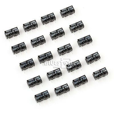 20 x New Mouse Parts Push Button Micro Switch OMRON D2FC-F-7N For Mouse Black