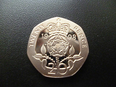 1998 Proof 20P Coin Housed In A New Capsule, 1998 Proof Twenty Pence Piece.