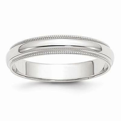 New Solid 14K White Gold Polished Ring Mens 4Mm Milgrain Wedding Band Size 12