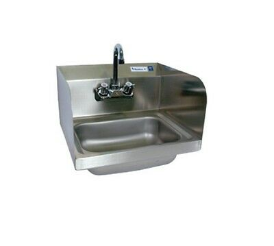 "14"" x 10"" Stainless Steel Splash Mount Hand Sink w Faucet BBKHS-W-1410-SS-P-G"