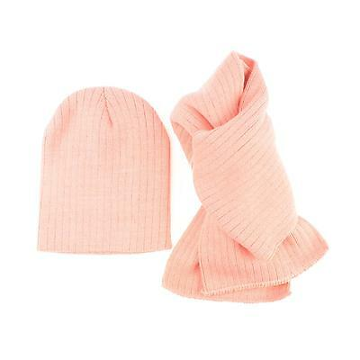 Winter 2pc Soft Girls Kids Age 4-7 Knit Ribbed Beanie Ski Hat Cap Scarf Set Pink