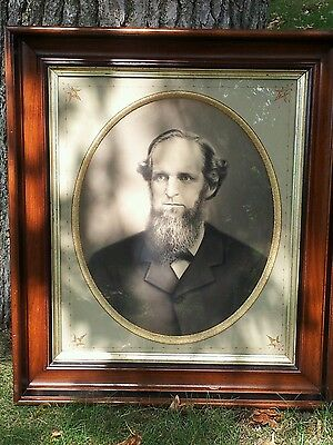 """Antique Large VICTORIAN Eastlake Walnut Picture Frame 27"""" by 31"""" gilded"""
