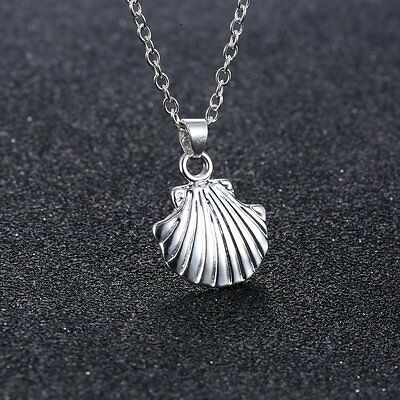 Charm Silver Tone Sea Shell Mermaid Pendant Simple Chain Necklace Prom Jewelry