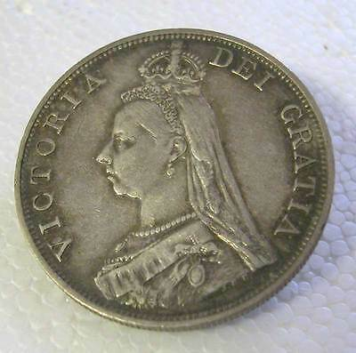 Great Britain-Queen Victoria-Silver Jubilee Double Florin 1887-Km # 763 Arabic 1