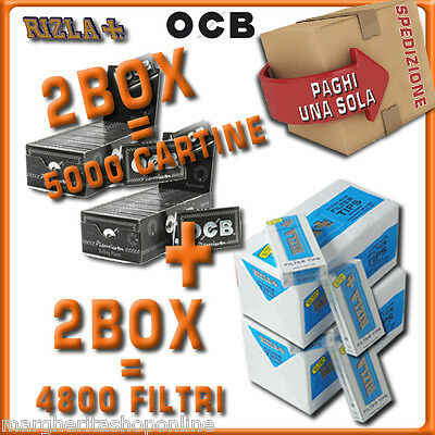 5000 CARTINE OCB CORTE DOPPIE=2box + 4800 FILTRI 5,5MM RIZLA ULTRASLIM 2box