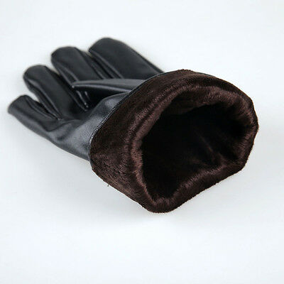 New Men's Warm Leather Cashmere Warm Motorcycle Winter Driving Gloves Waterproof