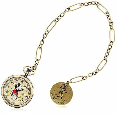INGERSOLL Disney Micky Mouse collection 30'gold steel pocket watch 25835 Reprint