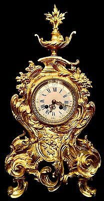 Splendid Very Large Empire French Antique Gilt Solid Bronze Clock Heavy 22 Lbs