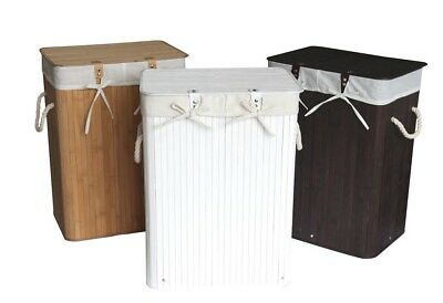 Woodluv Rectangular Folding Bamboo Laundry Basket with Lid and Cloth Liner- 3 co
