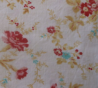 Antique French Shabby Cottage Floral Cotton Fabric ~Rasberry Pink Turquoise Aqua