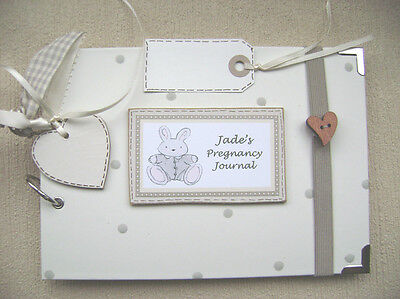 PERSONALISED. pregnancy journal  A5 SIZE.30 pages  PHOTO/SCRAPBOOK/MEMORY BOOK