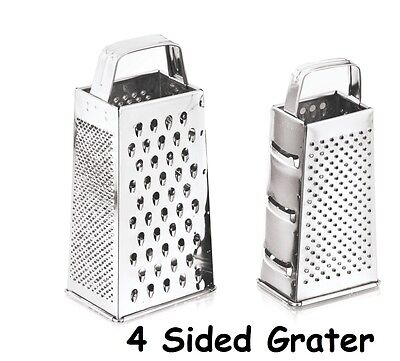 "Stainless Steel 9"" Box 4 Sided Grater Cheese Fruit Vegetable Slicer Shredder"