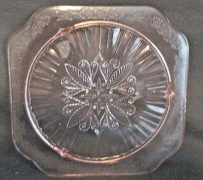 Vintage Pink Depression Glass Adam Etched Square Cake Plate