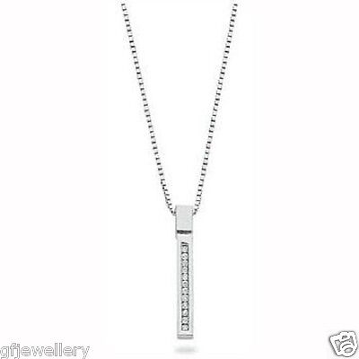 """9Ct Hallmarked White Gold 0.12Cts G Si1 Diamond Stick Pendant And 18"""" Chain"""