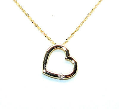 """9Ct Hallmarked Yellow Gold 0.04Cts Genuine Diamond Heart Pendant And 18"""" Chain"""