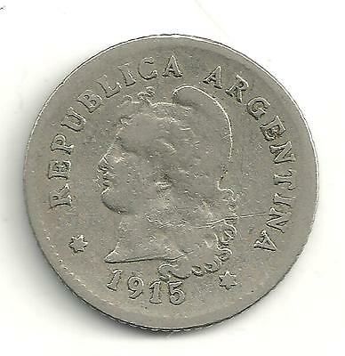 A Vintage Very Nicely Detailed 1915 Argentina 10 Centavos Coin