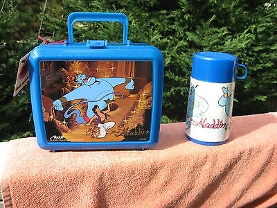 Vintage 1992 Disney Aladdin Plastic Lunch Box With Thermos Bottle~New
