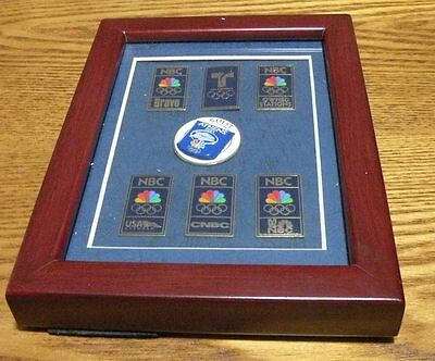 Very Rare 2004 Athens Olympic 7 pin guest set for the NBC NETWORK  framed