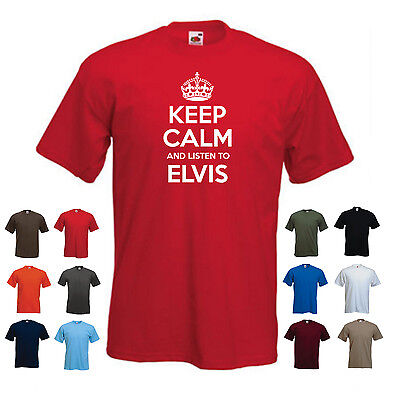 'Keep Calm and Listen to Elvis' Elvis Presley Birthday Present Gift T-shirt Tee