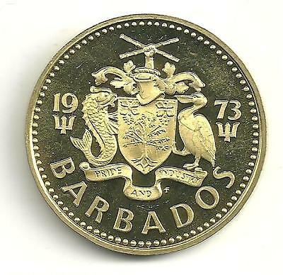 Very Nice Proof 1973 Barbados  Lighthouse 5 Cent Coin