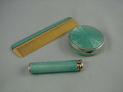 Solid Silver & Turquoise Guilloche Vanity Set, Lipstick Holder, Compact & Comb