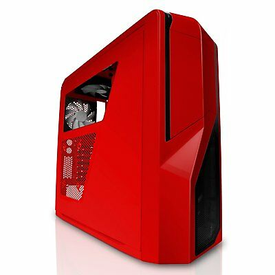 Black SECC Steel Chassis ATX Mid Tower Case red Gaming Computer Gamer PC Deluxe