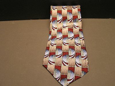 Cocktail Collection Spheres In Rectangles Gold Blue Red 100% Silk Tie Necktie
