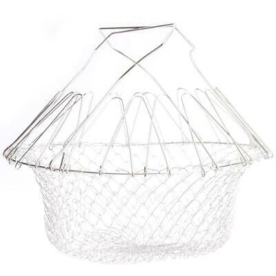 Foldable Steam Rinse Strain Fry Chef Basket Strainer Net Kitchen Cooking Tool L