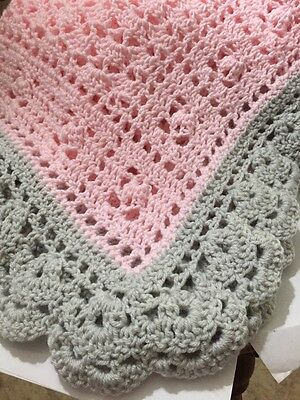 Crochet Baby Blanket Pink And Light Gray With Scalloped Edges Help a SIck Puppy!