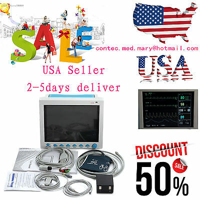 ICU Patient Monitor 6 parameter Vital Sign ECG NIBP RESP TEMP SPO2 Pr,US seller