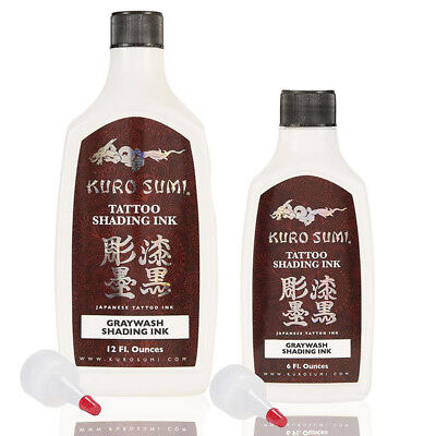 Kuro Sumi Greywash Shading Tattoo Ink, 6oz & 12oz Bottles. The original greywash