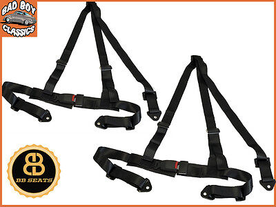 3 Point Black Fully Adjustable Car Seat Belt Harness Universal Design x2