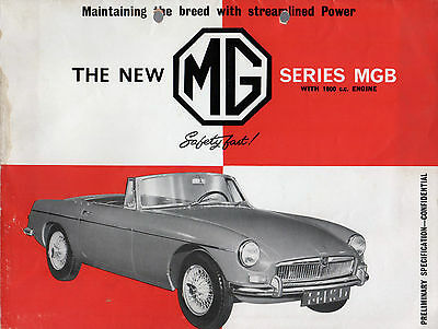 MG MGB Roadster 1962 UK Market Preview Foldout Sales Brochure