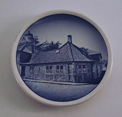 H.C. Andersen's House Denmark Blue & White Souvenir Butter Pat or Mini Plate.