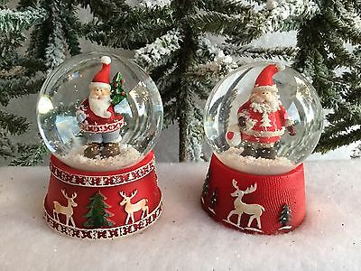 Father Christmas Snow Globe Red With Reindeer Detail Gisela Graham Traditional