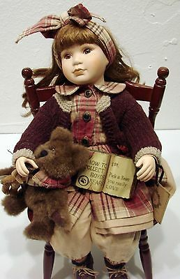 Vintage Boyds Collection Yesterdays Child Kelly Porcelain Doll w/ Bears & Chair