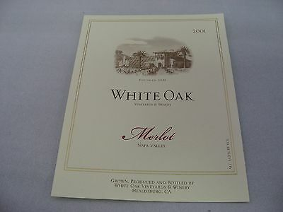 Wine Label: WHITE OAK 2001 Merlot Napa Valley California