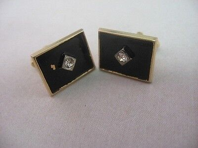 Vintage Mens Cufflinks: Gold Tone Black Background Clear Jewel Center