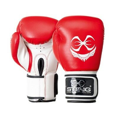 STING TITAN Leather Boxing Gloves RED Fitness Training Muay Thai MMA