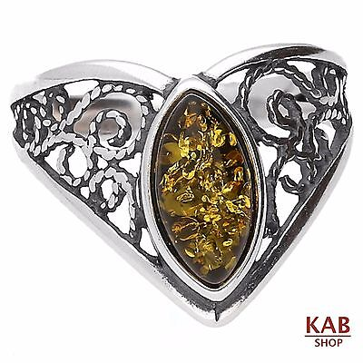 Baltic Amber Sterling Silver 925 Beauty Stone Ring. Kab-58 R.