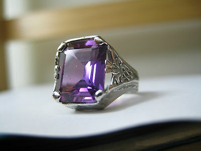 ART NOUVEAU 14k SOLID white gold FILIGREE COCKTAIL PURPLE AMETHYST VINTAGE RING