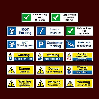 MOT Parking / Keep Clear / Lift / Compressed Air / Open - Plastic Sign, Sticker