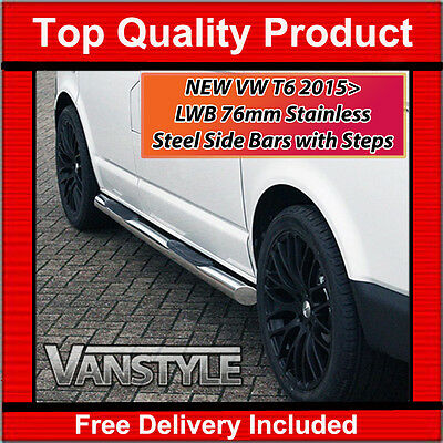 Vw T6 Transporter Lwb 76Mm Side Bars With Steps Stainless Steel H-Duty Chrome