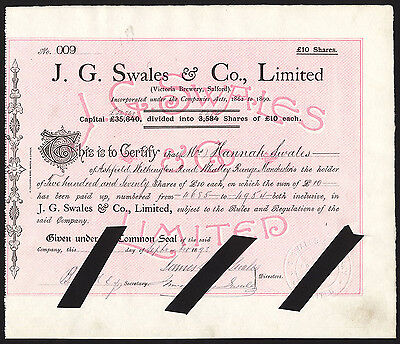 Victoria Brewery, Salford, J.G.Swales & Co. Ltd., £10 shares, 1898