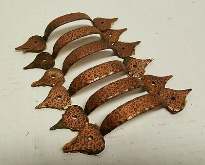 6 Six Vintage Hammered Copper Cabinet Drawer Pulls Kitchen Hardware