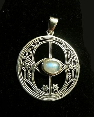 Chalice Well Goddess Pendant with Rainbow Moonstone Glastonbury Magic #TP3307MSR