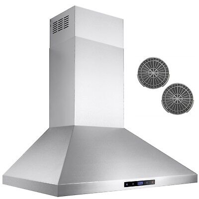 """30"""" Stainless Steel Wall Mount Range Hood Touch Screen Display Ductless Vent"""